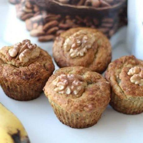 Walnuss-Bananen Muffins mit Dinkel und Kokosmehl