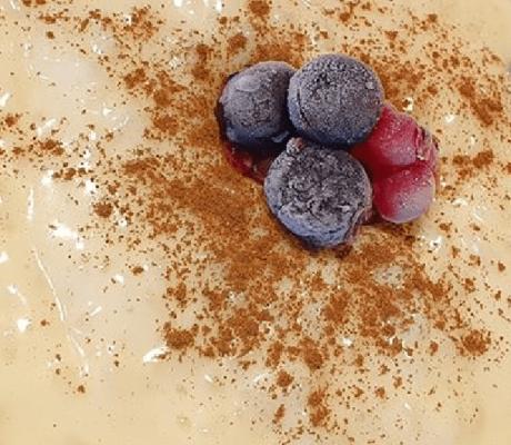 Vanille – Mandel – Milchreis – Pudding mit frischen Aronia Beeren und Zimt