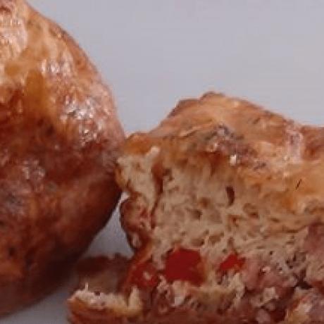 Bio Eier – Gemüse – Muffins gefüllt mit Schinken und Paprika