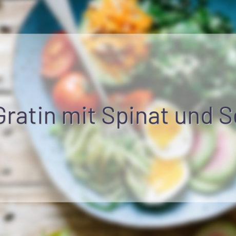 Nudel-Gratin mit Spinat und Schinken